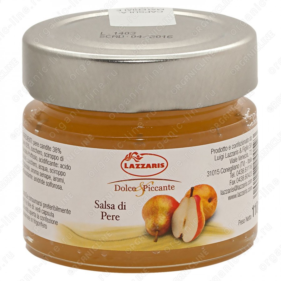 """Соус фруктовый из груши """"Salsa di pere"""" 110 г Lazzaris"""