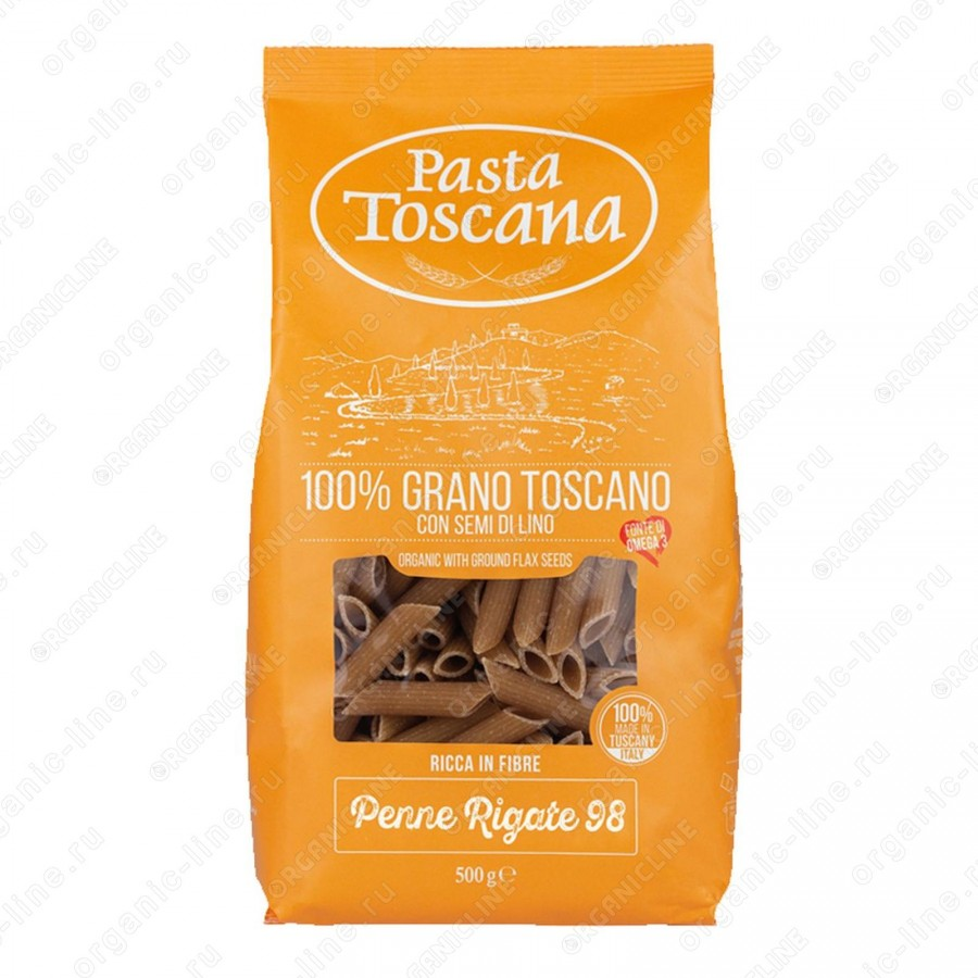 Паста цельнозерновая Пенне Ригате BIO 500 г Pasta Toscana