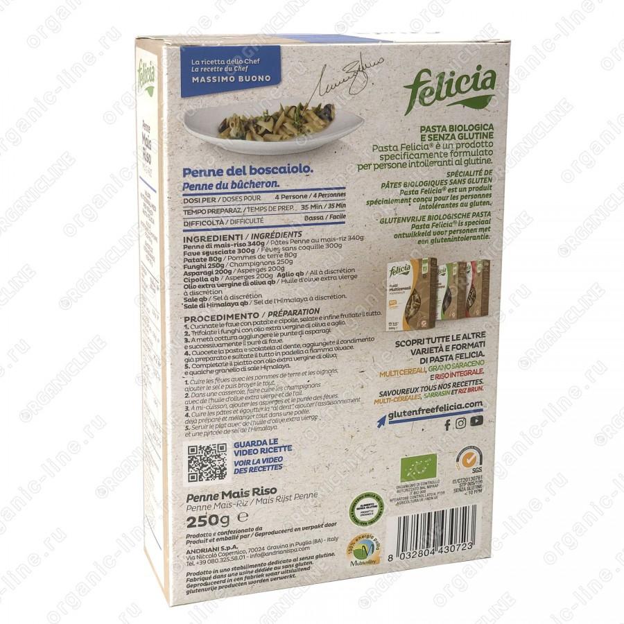 Паста кукурузно-рисовая Пенне Ригате 250 г, БИО, Без Глютена