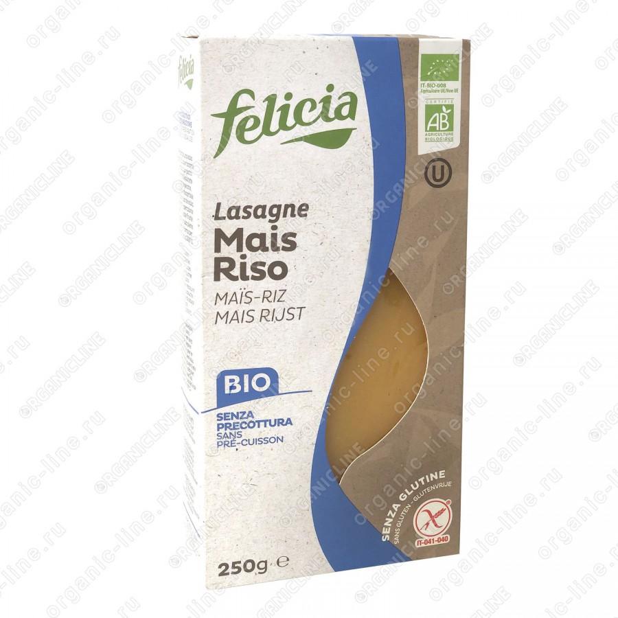 Паста кукурузно-рисовая Лазанья 250 г, БИО, Без Глютена