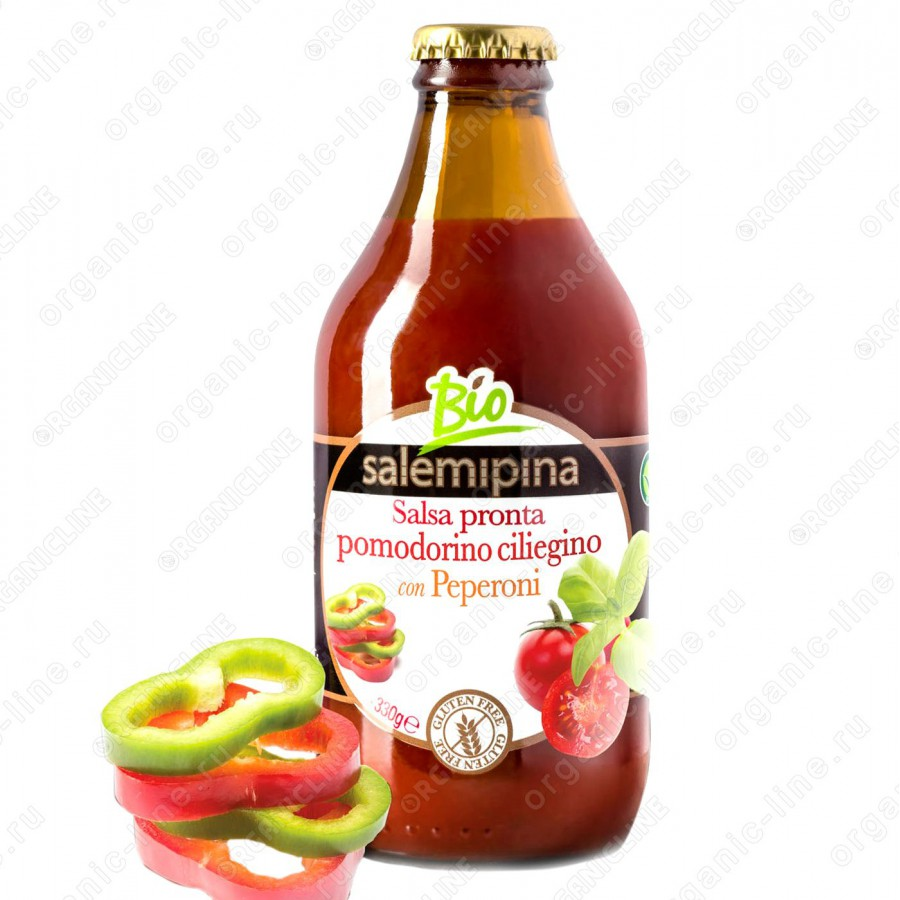 Соус томатный со сладким перцем 330 г Salemipina Без Глютена, БИО, Веган, Италия