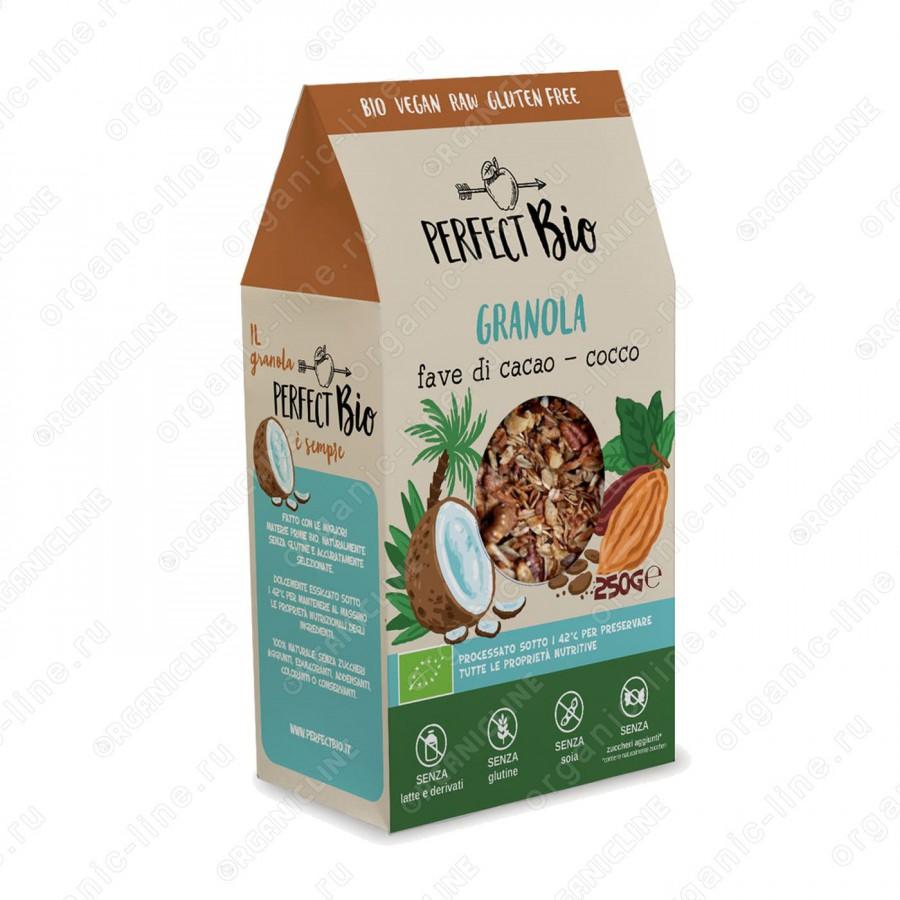 Гранола с какао и кокосом 250 г Perfect Bio Италия, БИО, Без Глютена, Веган