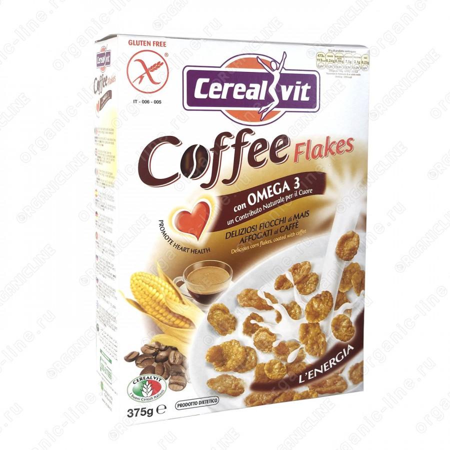 Кукурузные хлопья хрустящие с кофе и Омега-3, 375 г Cerealvit Без глютена, Италия
