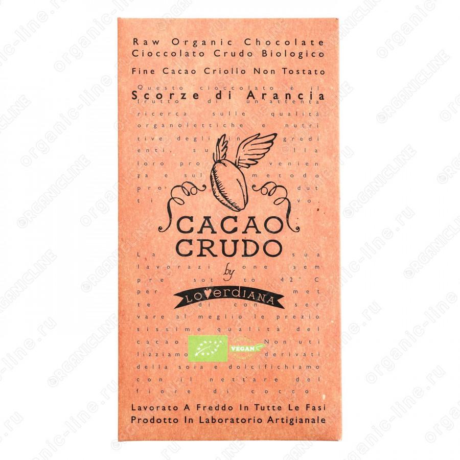 Плитка шоколадная из тёмного шоколада с цедрой Апельсина 50 г Cacao Crudo БИО, Веган, Италия