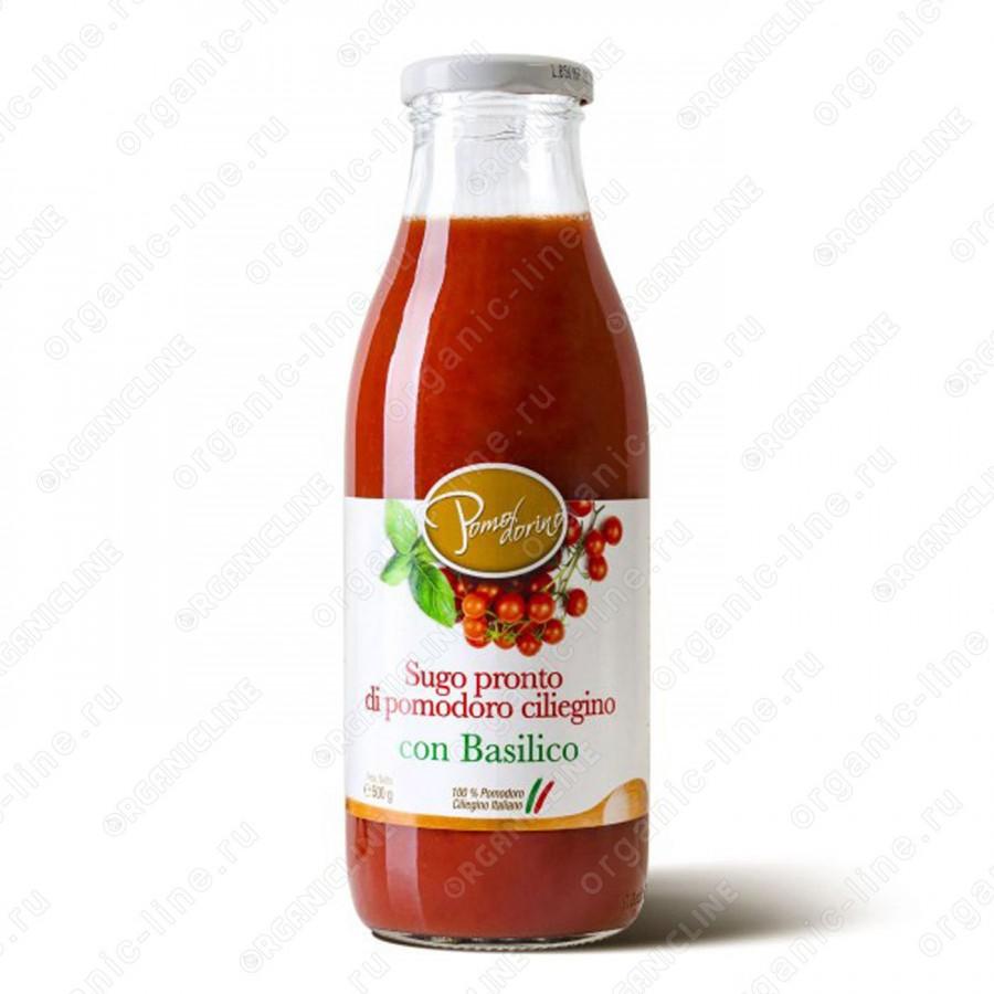 Томатный соус с базиликом из сицилийских помидоров черри 500 г, Без Глютена