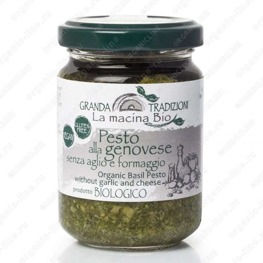 Соус песто Дженовезе со 100% Генуэзским Базиликом DOP на оливковом масле e.v. без чеснока и сыра 130 г La Macina BIO