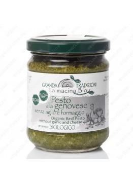 Соус песто Дженовезе со 100% Генуэзским Базиликом DOP на оливковом масле e.v. без чеснока и сыра 180 г